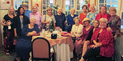 Women gathered for holiday tea