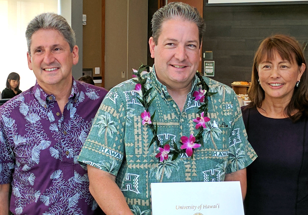 UH President David Lassner, Space Grant Director Luke Flynn, UH Board of Regents Chair Jan Sullivan
