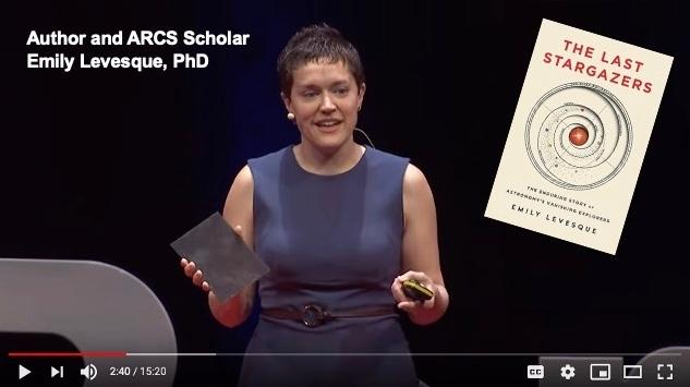 Emily Levesque giving Tedx talk with glass photographic plate and inset of her book The Last Stargazers