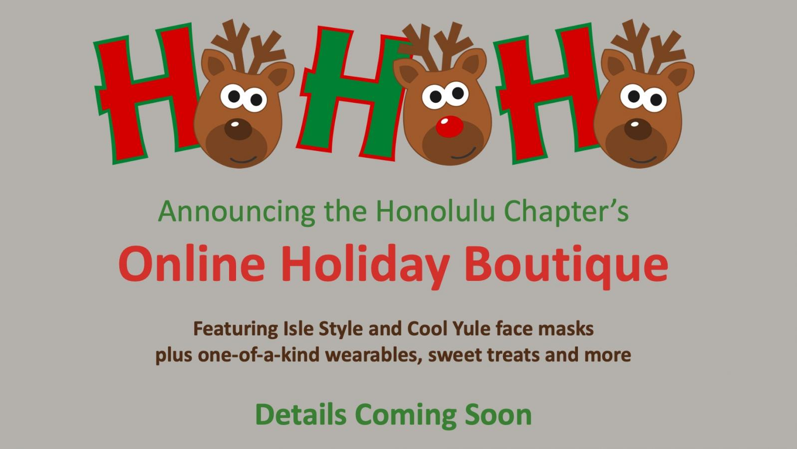 Honolulu Chapter Holiday Boutique sign