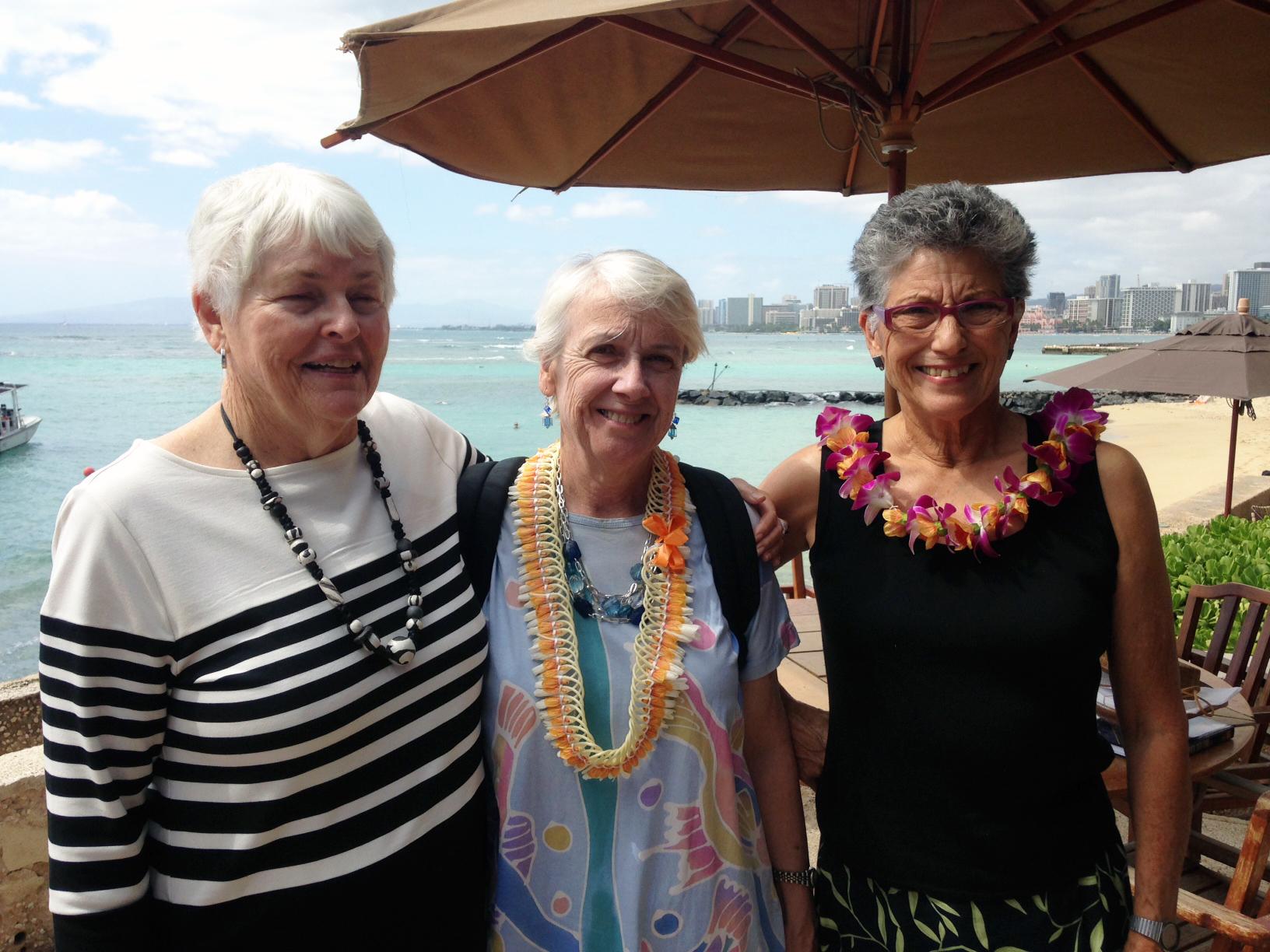 Patty Lee, Philomene Verlaan and Sui-Lan Ellsworth in Waikiki